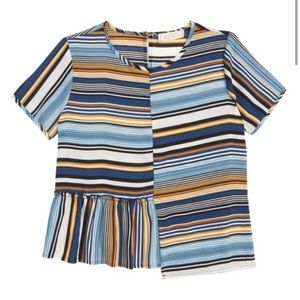 Walking On Sunshine Stripe Asymmetrical Blouse